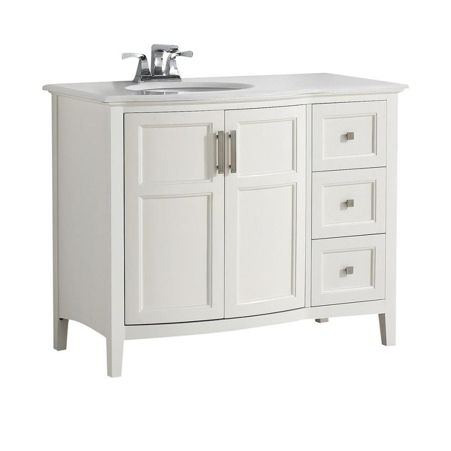 Simpli Home Winston Soft White Undermount Single Sink Birch Bathroom Vanity with Engineered Stone Top (Common: 42-in x 21.5-in; Actual: 43-in x 21.5-in)