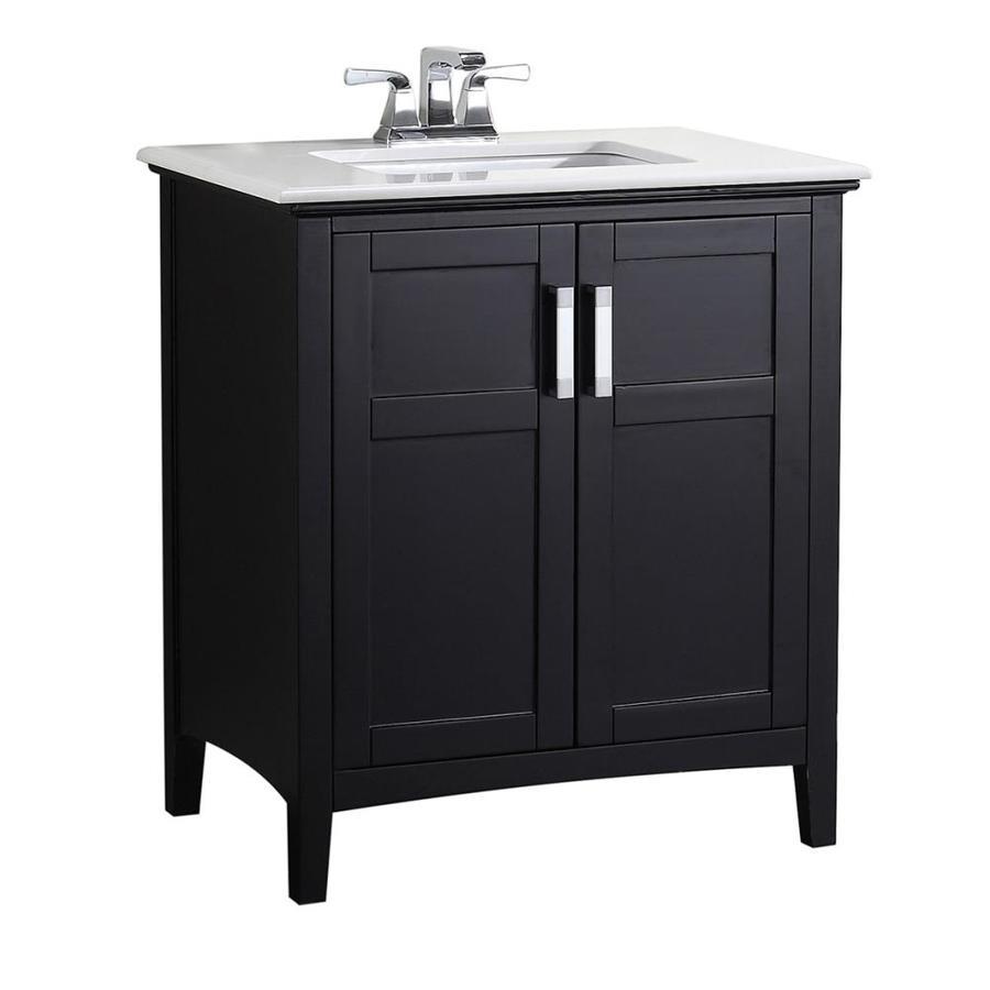 Simpli Home Winston Black Undermount Single Sink Birch Bathroom Vanity with Engineered Stone Top (Common: 30-in x 21.5-in; Actual: 31-in x 21.5-in)