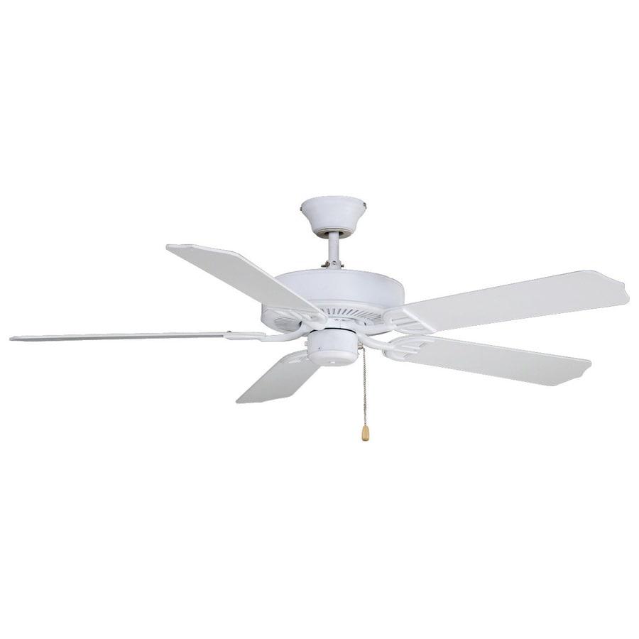 Fanimation Builder Series 52-in Matte White Downrod Mount Indoor/Outdoor Ceiling Fan ENERGY STAR