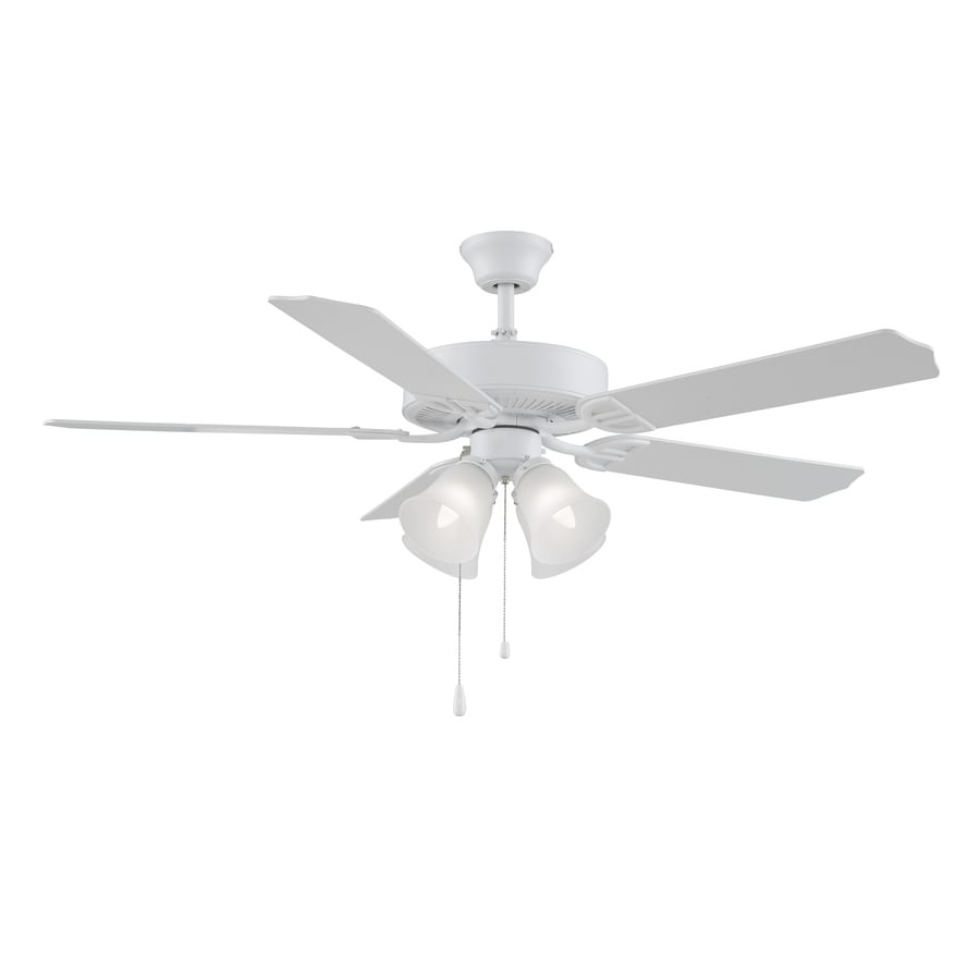 Fanimation Builder Series 52-in Matte White Downrod Mount Indoor Ceiling Fan with Light Kit