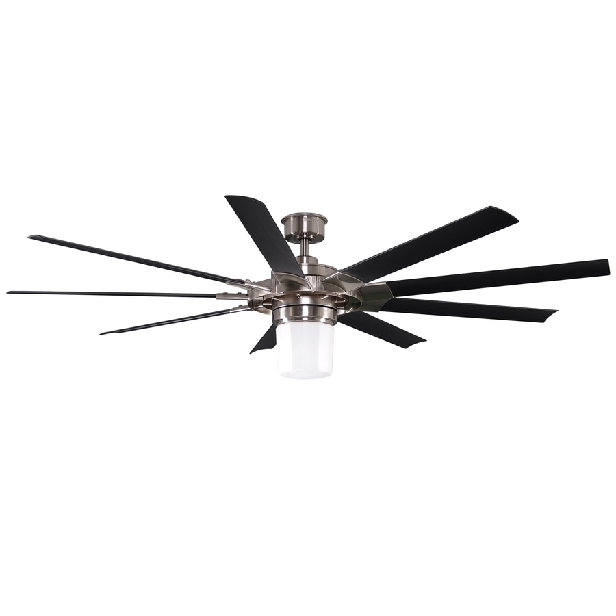 Harbor Breeze Slinger 72-in Brushed Nickel Downrod Mount Indoor Ceiling Fan with Light Kit and Remote (9-Blade) ENERGY STAR
