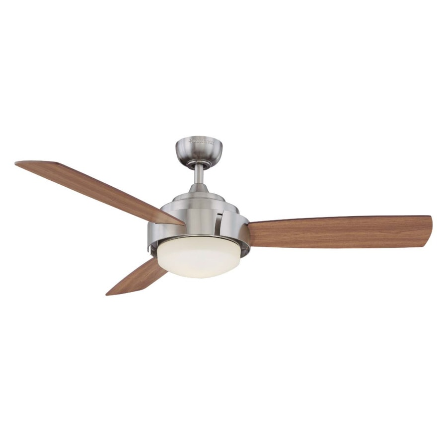 Harbor Breeze Elevation 52-in Brushed Nickel Downrod Mount Indoor Ceiling Fan with Light Kit and Remote (3-Blade)