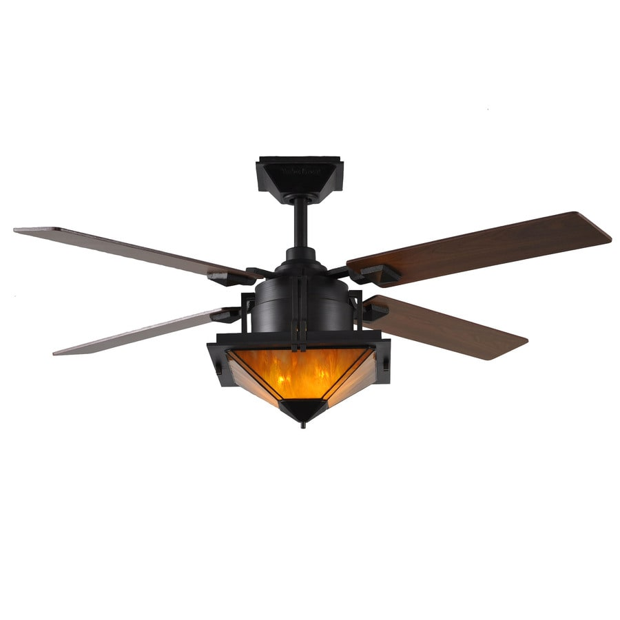 Harbor Breeze San Leandro 52-in Aged Bronze Downrod Mount Indoor Ceiling Fan with Light Kit and Remote (4-Blade)