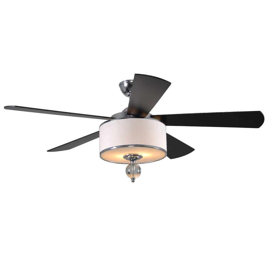 allen + roth Victoria Harbor 52-in Polished Chrome Downrod Mount Indoor Ceiling Fan with Light Kit and Remote
