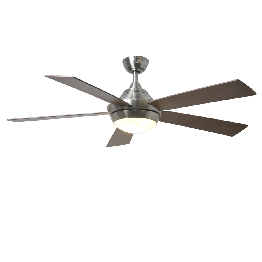 Harbor Breeze Platinum Portes 52-in Brushed Nickel Downrod Mount Indoor Ceiling Fan with Light Kit and Remote