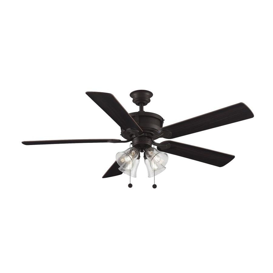 Fanimation Studio Collection Burgess 60-in Dark Bronze with Antique Accent Downrod Mount Indoor Residential Ceiling Fan with Light Kit