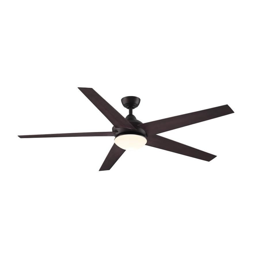Fanimation Studio Collection Covert 64-in Dark Bronze Downrod Mount Indoor/Outdoor Residential Ceiling Fan with LED Light Kit and Remote ENERGY STAR