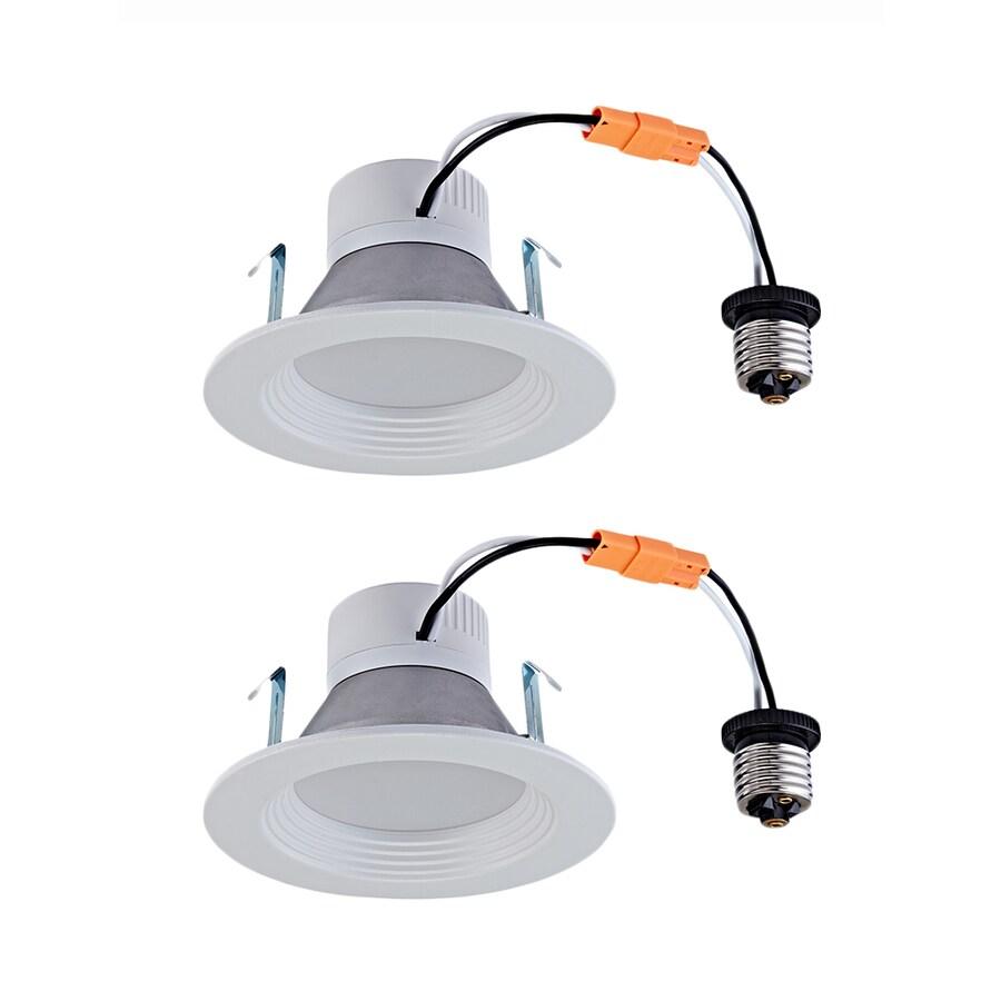 Utilitech 2-Pack 50-Watt Equivalent White LED Recessed Retrofit Downlight (Fits Housing Diameter: 4-in)