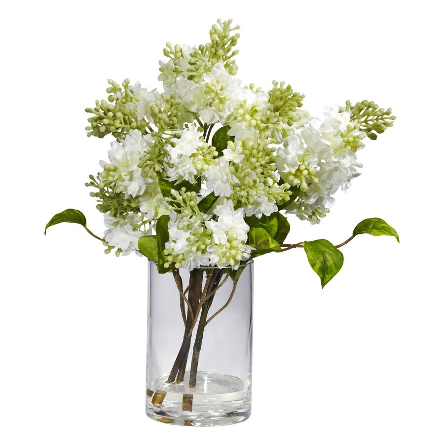 Nearly Natural 15-in White Silk Arrangement