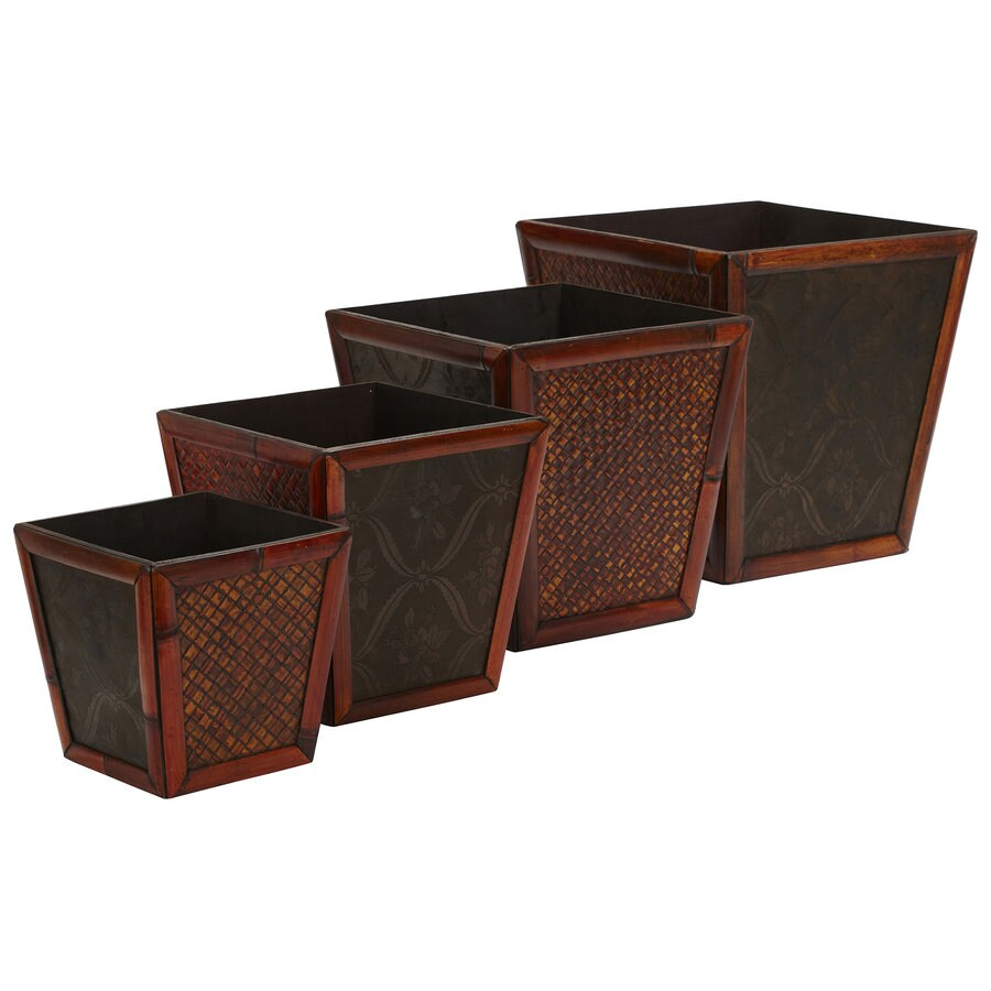 Nearly Natural 4-Pack 13.75-in x 8-in Brown Wood Square Planter