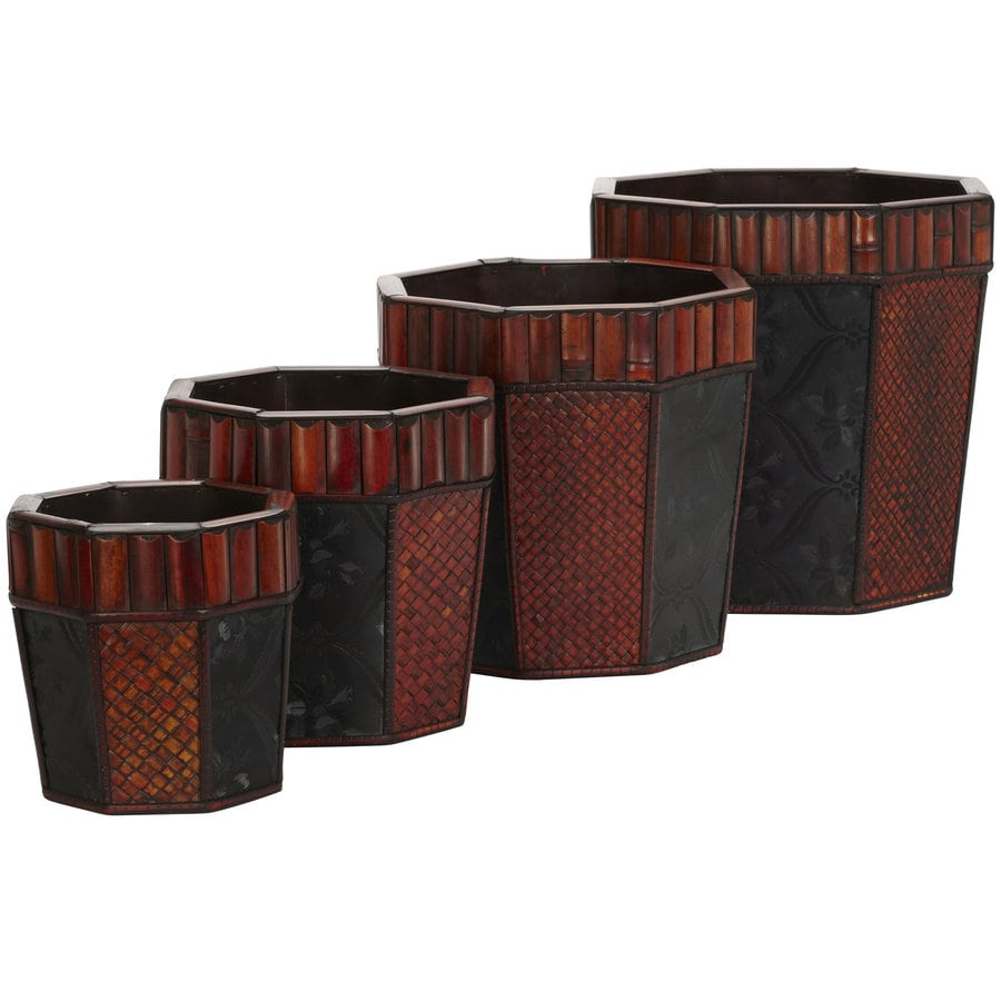 Nearly Natural 4-Pack 15-in x 14-in Brown Wood Classic Planter