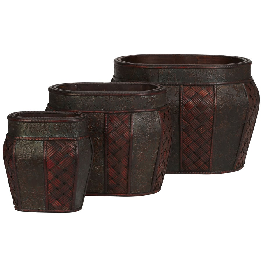 Nearly Natural 3-Pack 9-in x 10-in Burgundy Wood Classic Planter