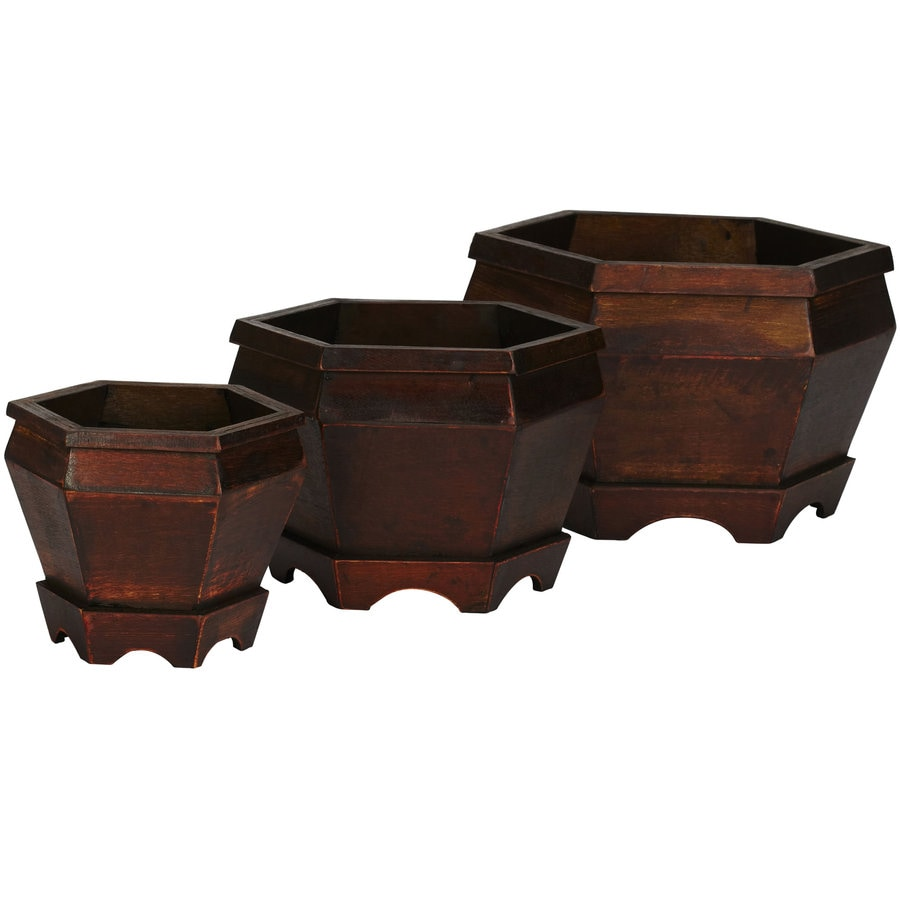 Nearly Natural 3-Pack 12-in x 7.5-in Burgundy Wood Natural Planter