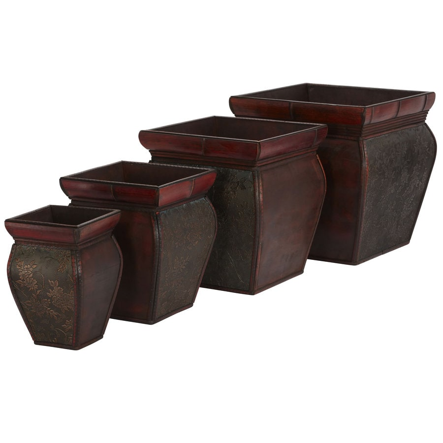 Nearly Natural 4-Pack 14-in x 14-in Brown Wood Square Planter