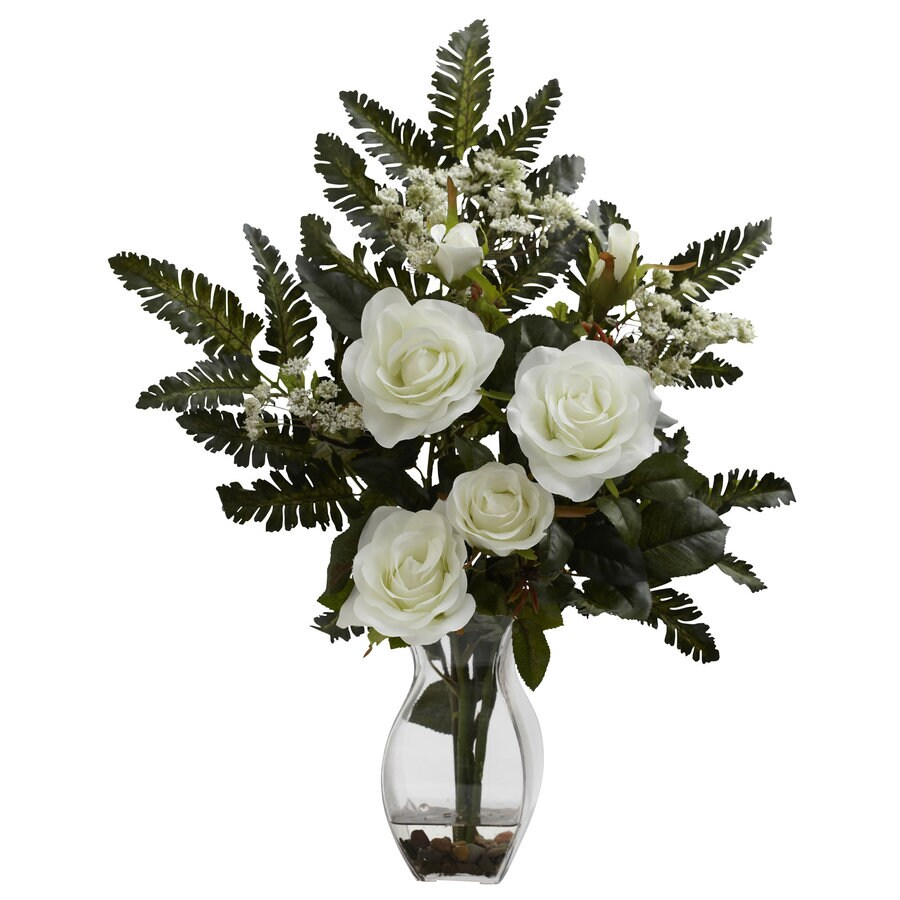 Nearly Natural 21-in White Silk Arrangement