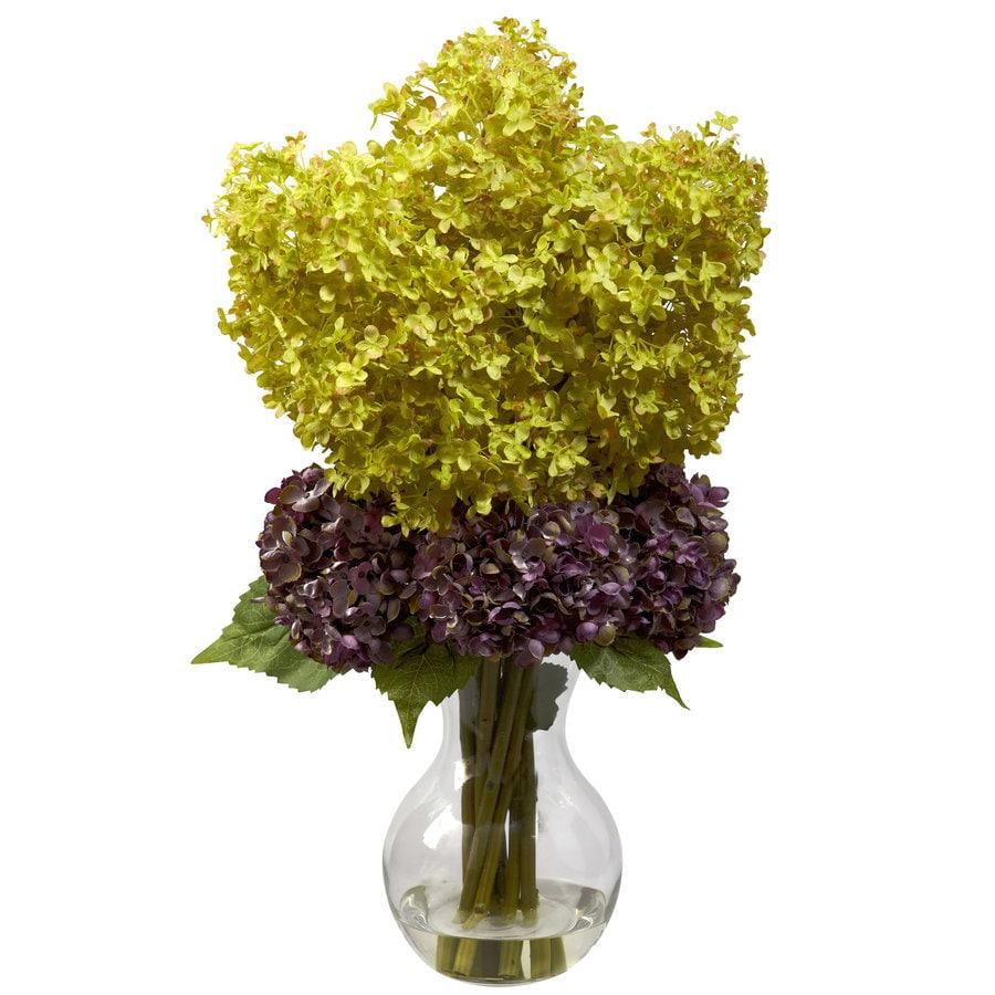 Nearly Natural 25-in Green/Purple Silk Arrangement