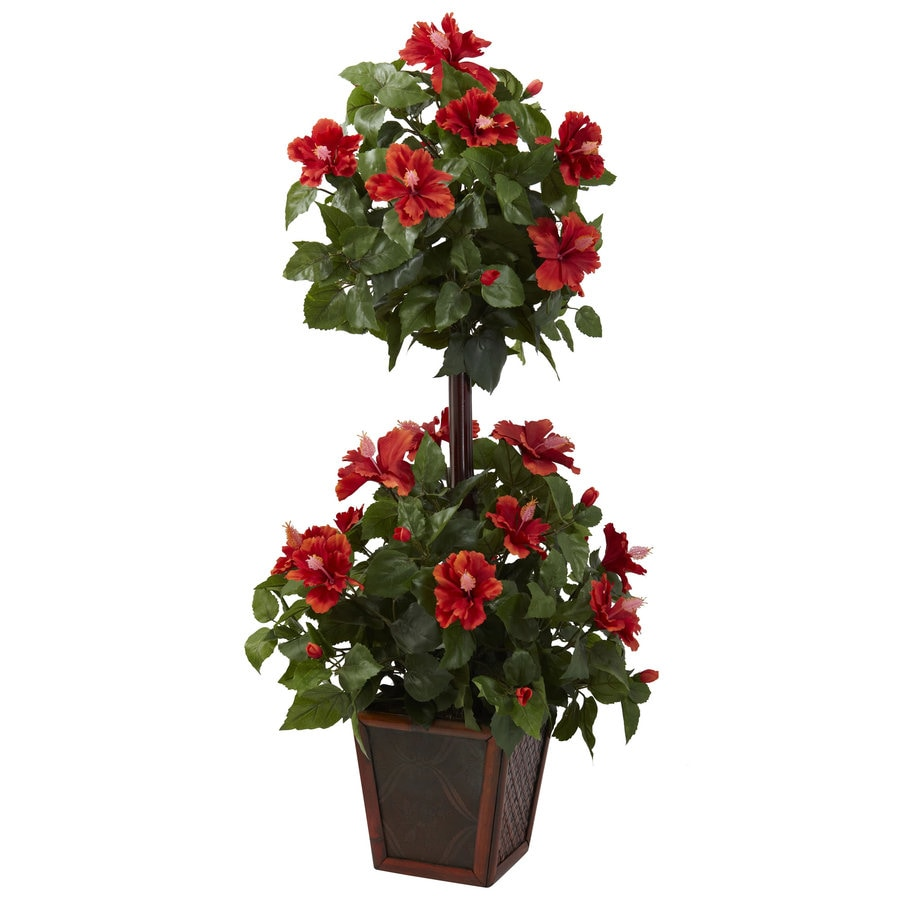 Nearly Natural 39-in Red/Green Silk Plant