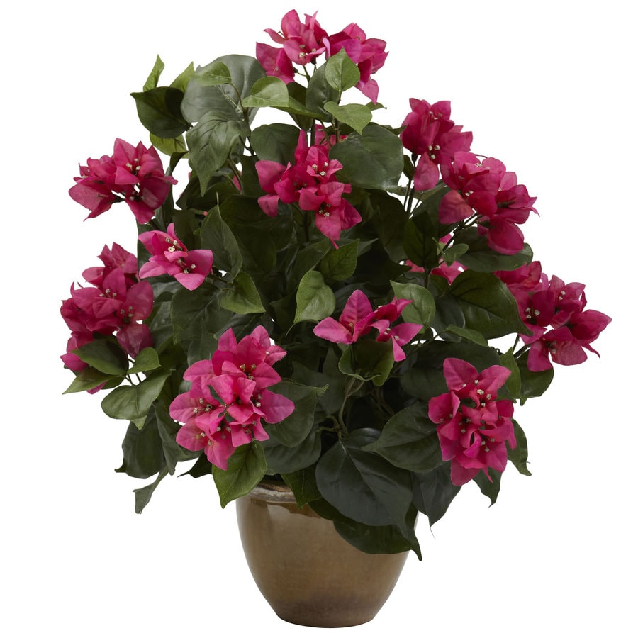 Nearly Natural 19-in Green/Pink Silk Plant