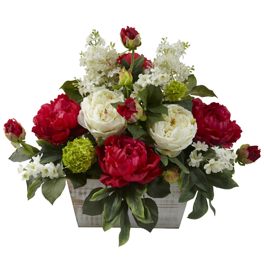 Nearly Natural 17-in Red/White Silk Arrangement
