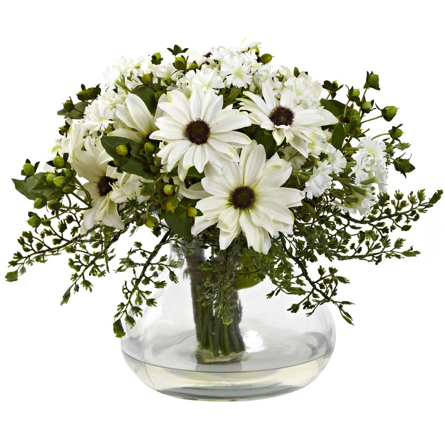 Nearly Natural 12-in White Silk Arrangement