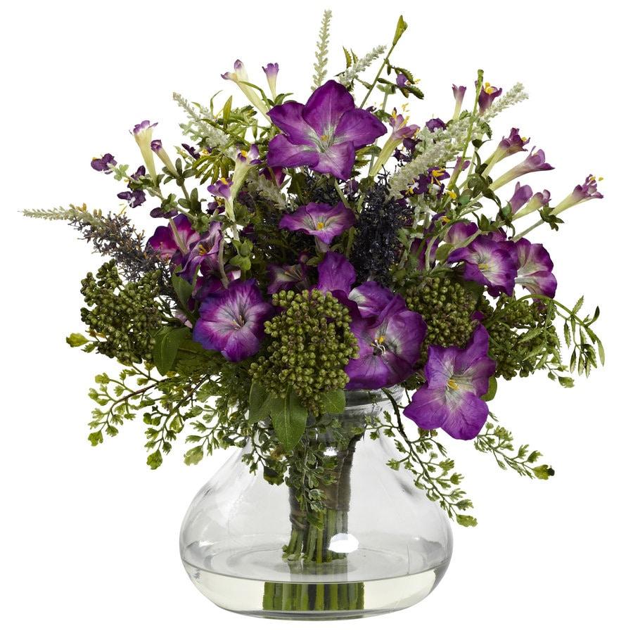 Nearly Natural 14.5-in Purple/Green Silk Arrangement