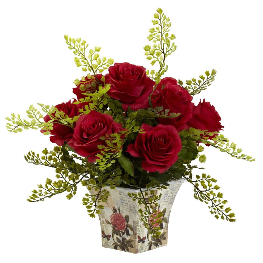 Nearly Natural 13-in Red Silk Arrangement