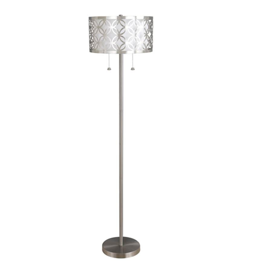 allen + roth Earling 63-in Brushed Nickel Indoor Floor Lamp with Fabric Shade