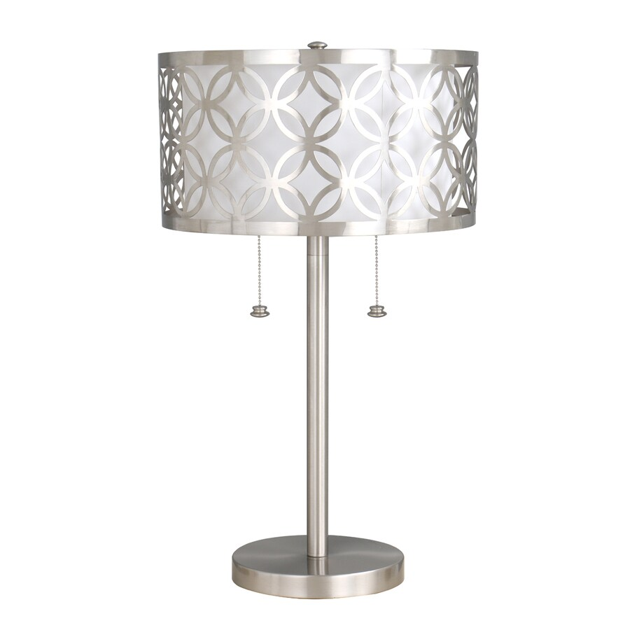 allen + roth Earling 25-in Brushed Nickel Indoor Table Lamp with Fabric Shade