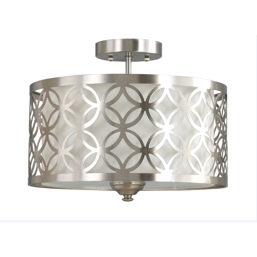 allen + roth Earling 15-in W Brushed Nickel Fabric Semi-Flush Mount Light