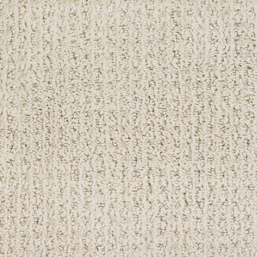 STAINMASTER Salena Trusoft Cream/Beige/Almond Cut and Loop Carpet Sample