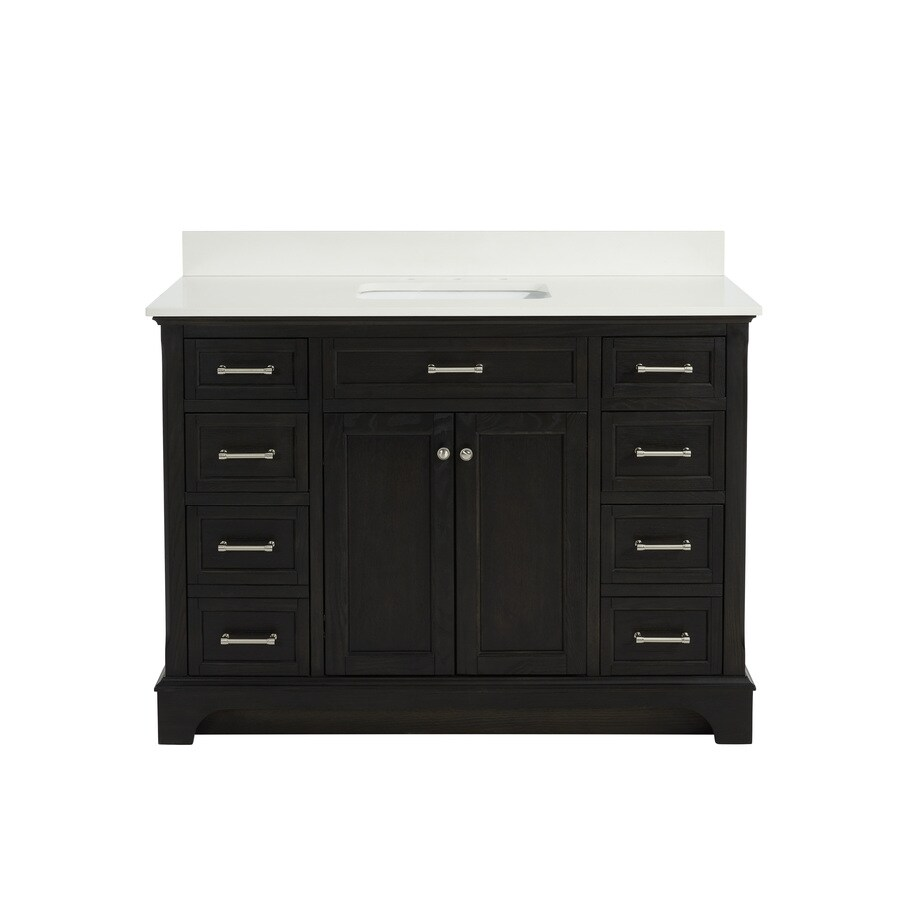 allen + roth Roveland Black Oak Undermount Single Sink Birch/Poplar Bathroom Vanity with Engineered Stone Top (Common: 48-in x 22-in; Actual: 48-in x 22-in)