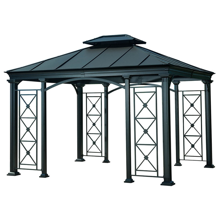 Shop sunjoy black steel rectangle gazebo exterior x foundation x - Build rectangular gazebo guide models ...