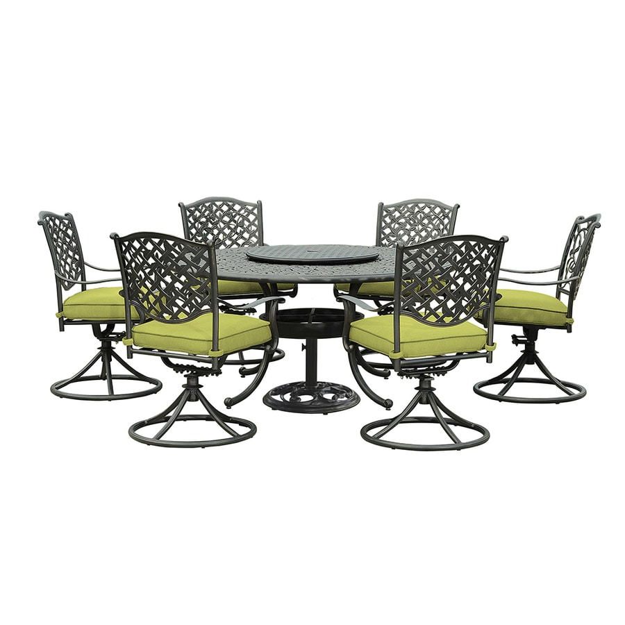 Shop sunjoy 7 piece cast aluminum patio dining set at for Outdoor furniture 7 piece