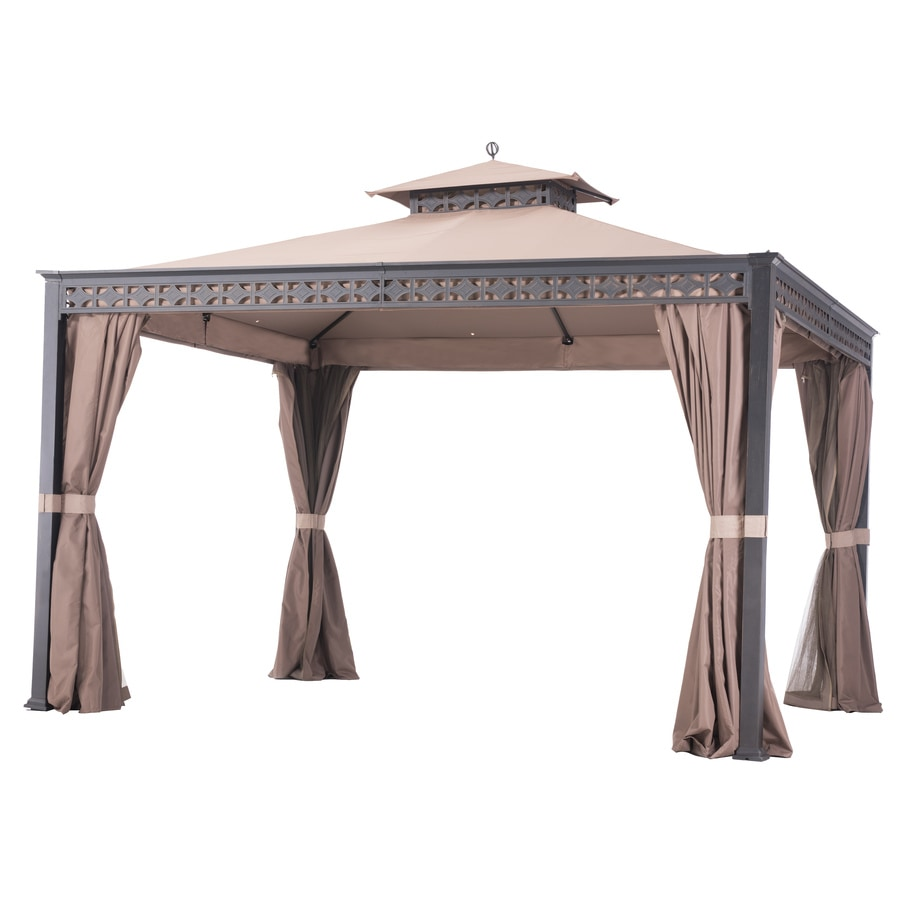 Shop sunjoy black beige resin rectangle permanent gazebo exterior 10 ft x 12 ft foundation - Build rectangular gazebo guide models ...