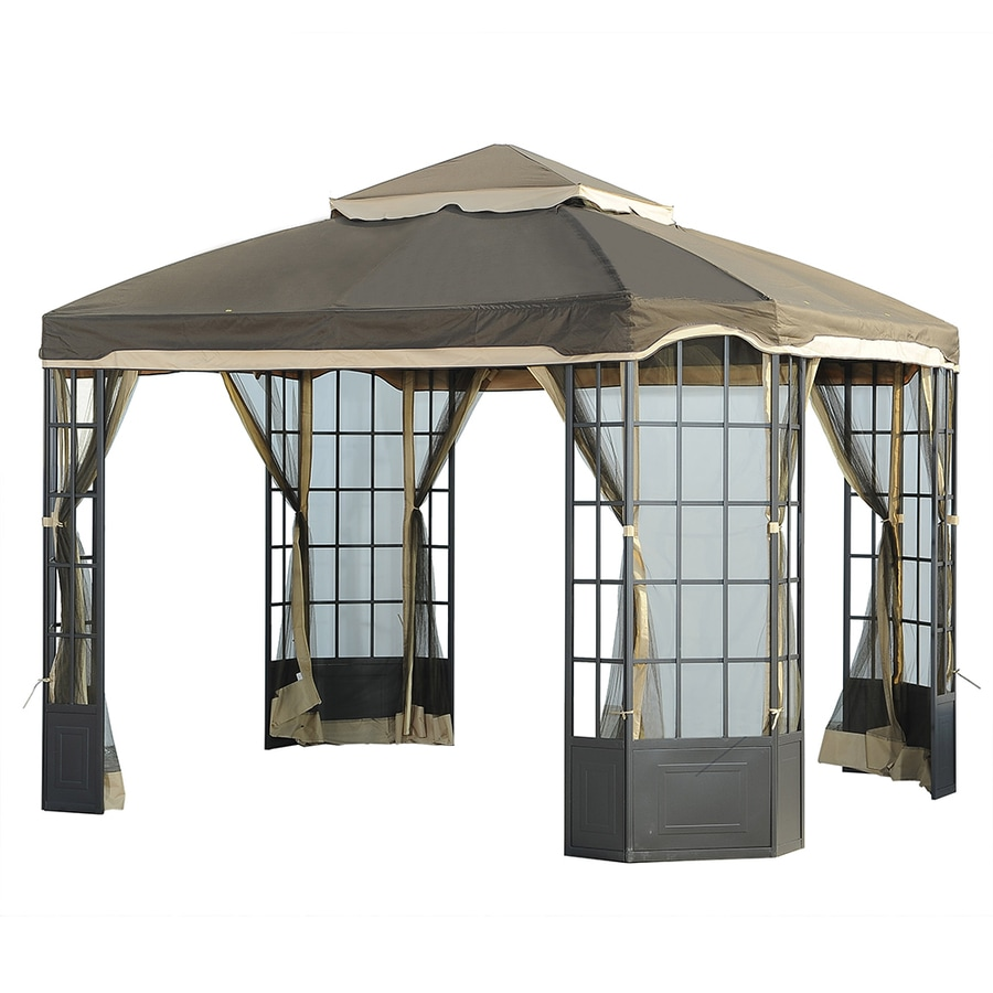 Shop sunjoy brown rectangle gazebo foundation 10 ft x 12 ft at - Build rectangular gazebo guide models ...