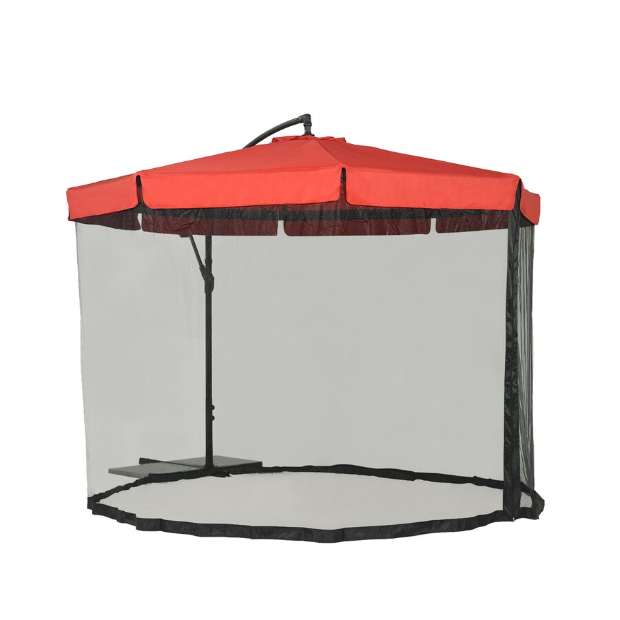 Sunjoy Red Garden Patio Umbrella with Base (Common: 10-ft W x 10-ft L; Actual: 9.83-ft W x 9.83-ft L)