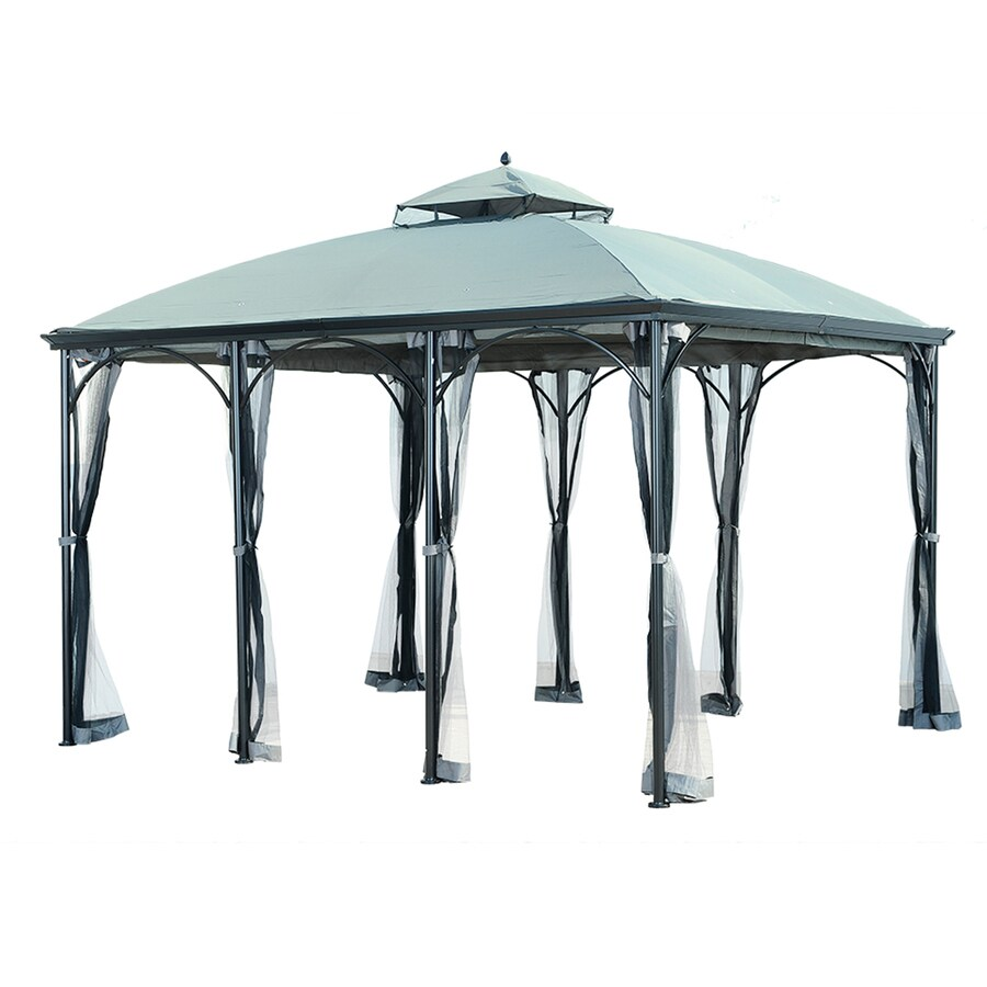Shop sunjoy columbus black steel rectangle gazebo exterior 10 ft x 12 ft foundation 12 ft x - Build rectangular gazebo guide models ...