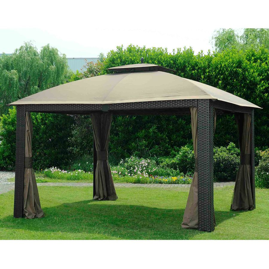 Shop sunjoy beige aluminum rectangle permanent gazebo exterior 10 ft x 12 ft foundation 10 - Build rectangular gazebo guide models ...