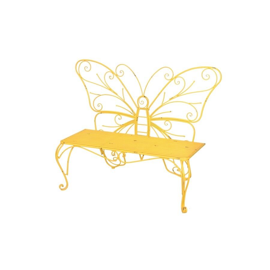 Sunjoy 23.5-in W x 55.5-in L Yellow Iron Patio Bench