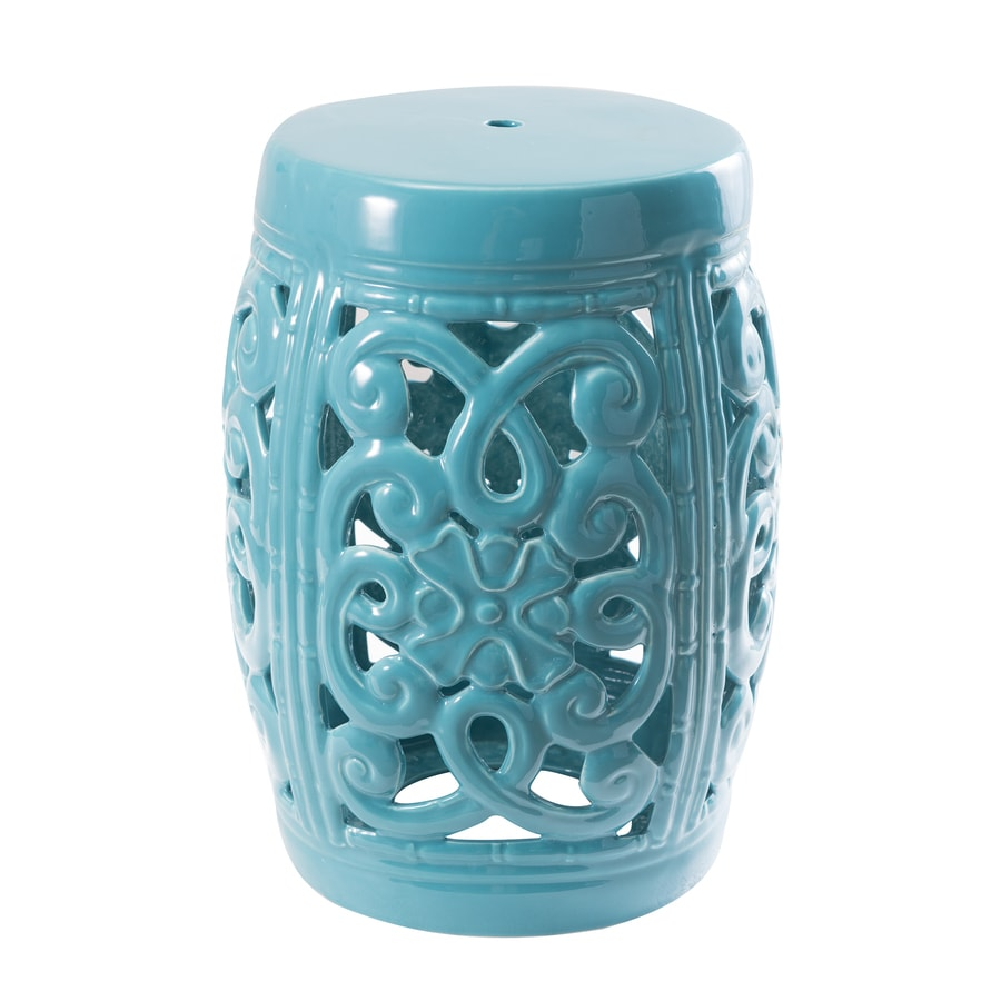 Sunjoy 18-in Turquoise Ceramic Barrel Garden Stool