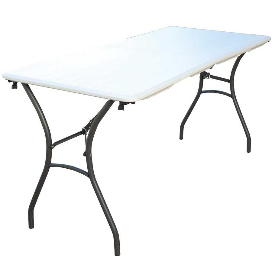 LIFETIME PRODUCTS 61.25-in x 27.5-in Rectangle Steel Almond/Bronze Folding Table