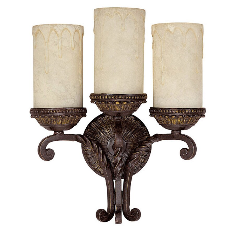 Century 13-in W 3-Light Weather Brown Arm Wall Sconce