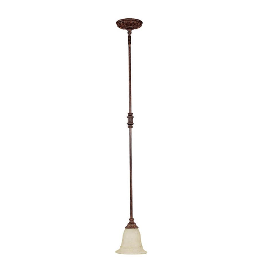 Century 6.75-in Chesterfield Brown Single Textured Glass Pendant