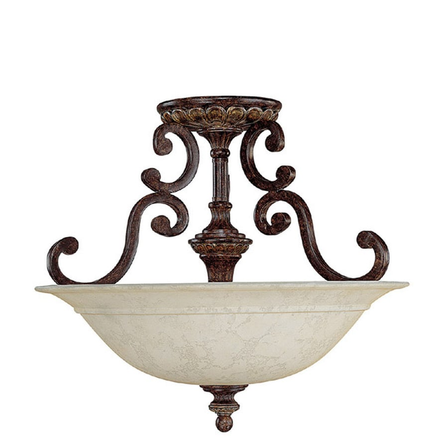 Century 16-in W Chesterfield Brown Textured Semi-Flush Mount Light