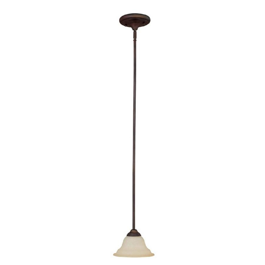 Century 8-in Burnished Bronze Single Textured Glass Pendant