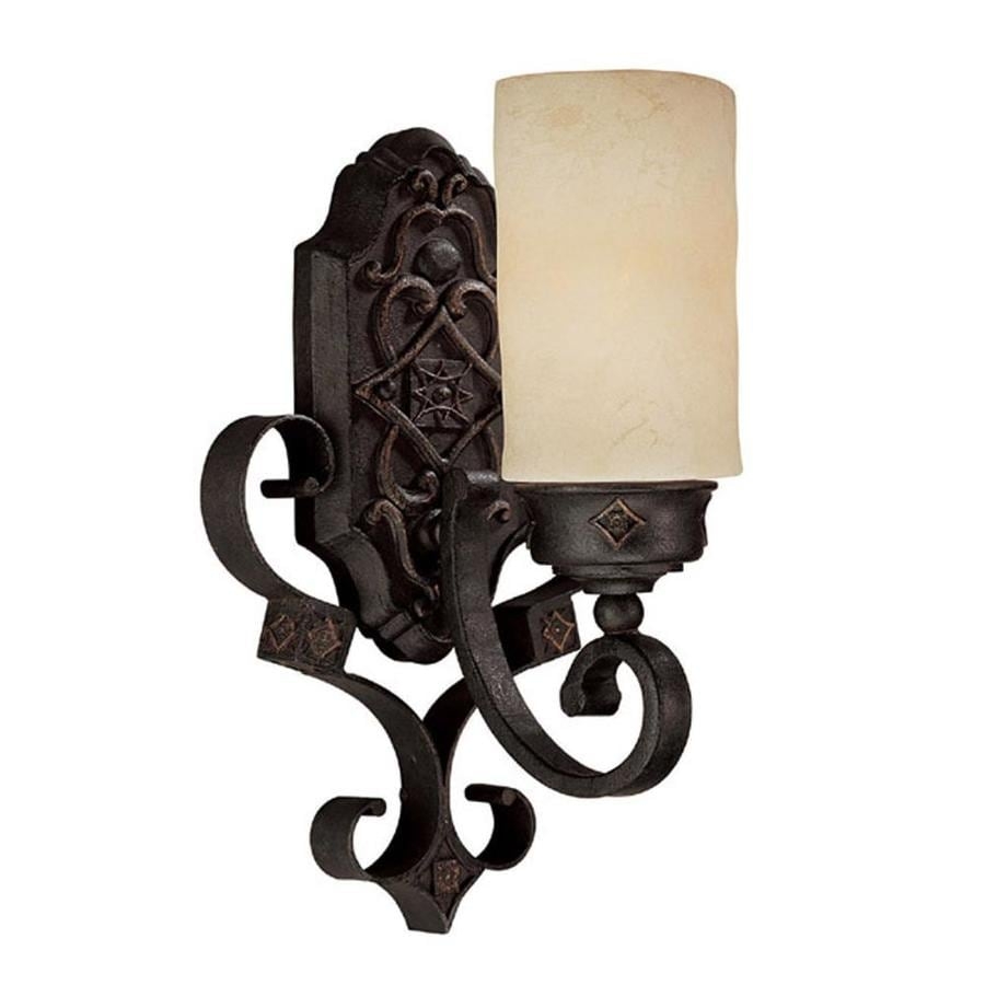 Iron Wall Sconces Lighting : Shop Century 9-in W 1-Light Rustic Iron Arm Wall Sconce at Lowes.com