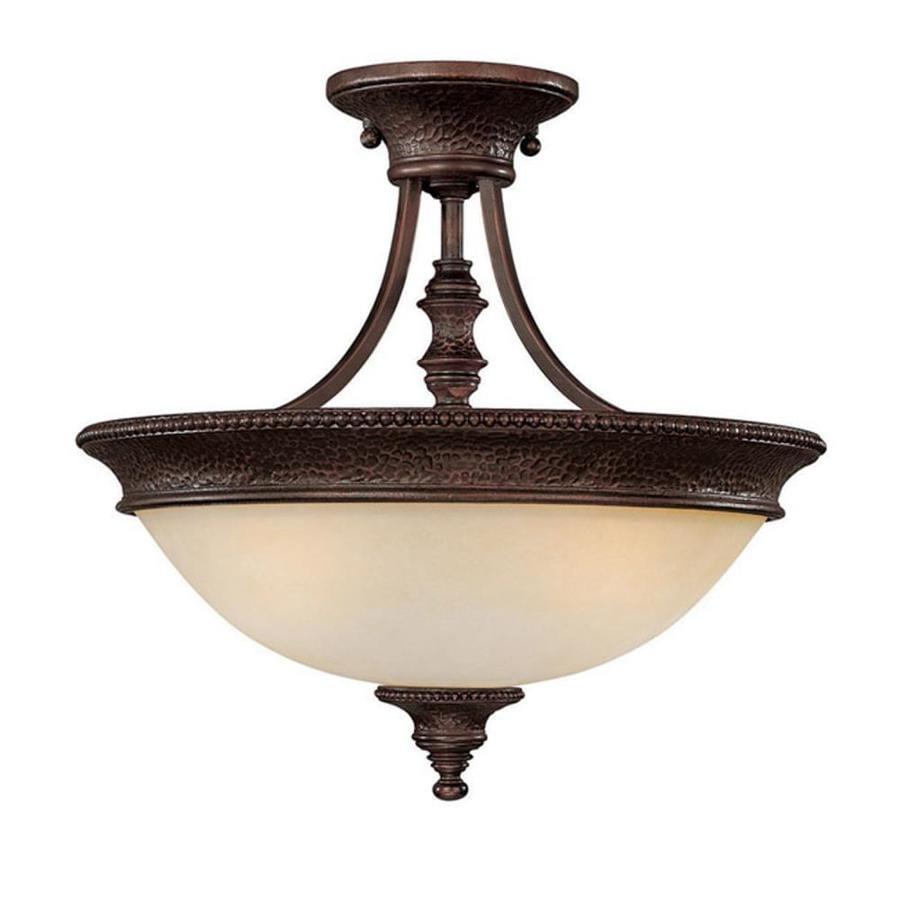 Century 16.5-in W Burnished Bronze Textured Semi-Flush Mount Light