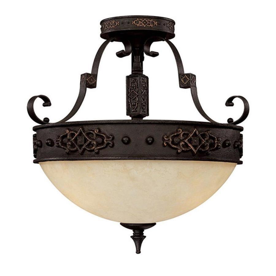 Century 18-in W Rustic Iron Textured Semi-Flush Mount Light