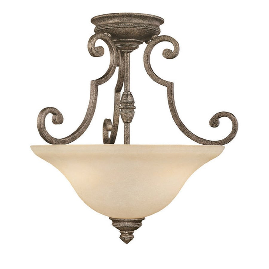 Century 18-in W Creek Stone Textured Semi-Flush Mount Light