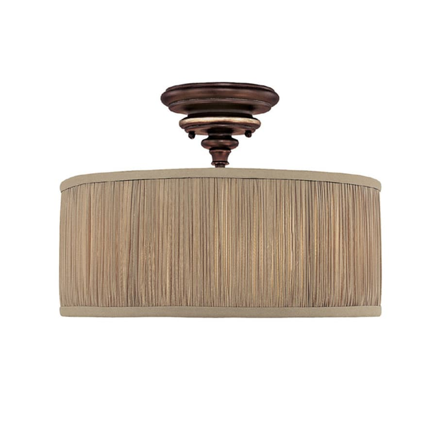 Century 15-in W Champagne Bronze Frosted Glass Semi-Flush Mount Light